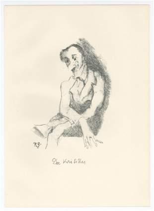 """Rudolf Grossmann original lithograph """"Der Kritiker"""""""