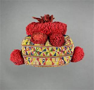 Laotian Embroidered Childs Hat, Mien/Yao Minority Group