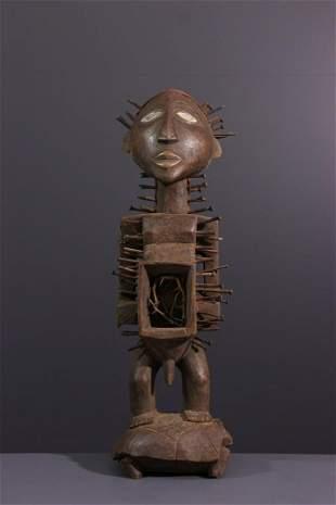 Kongo Nkondi Nkisi wood statue - DRC Congo - African