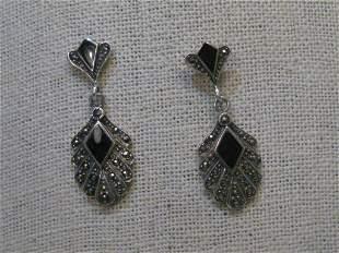 Sterling Silver Onyx Marcasite Pierced Earrings, Stud &