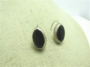 Vintage Sterling Faux Onyx Earrings, Mexico, Hook Drop,
