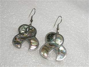 Vintage Sterling Silver Inlaid Abalone Ribbon Pierced