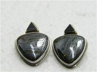 Sterling Southwestern Tiger Iron Earrings, Onyx,