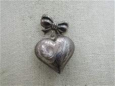 Vintage Sterling Bow & Dangle Heart Brooch, C-Clasp,