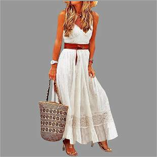 Vtg A-Line Lace & Solid Maxi Slip Vacation dress