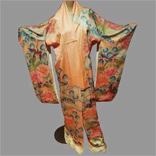 Japanese Kimono Hand Painted & Embroidered with gold