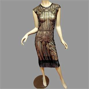 Vtg Layering 70's doing 20's Deco look dress Gold