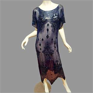 Vtg Beaded Layering Flapper dress in dark blue dazzling