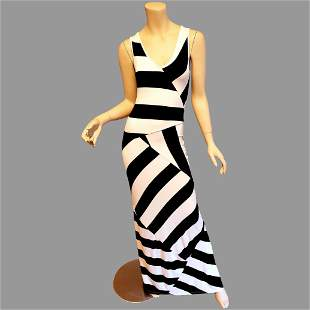 Vtg Black & White striped body con maxi dress panels