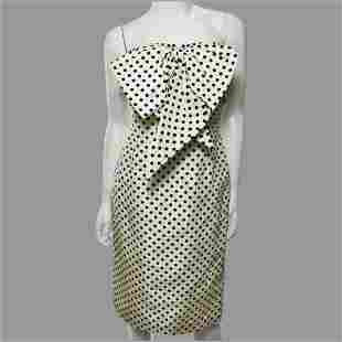 Vtg Bill Blass Couture Polka Dot Papillon Dress Circa