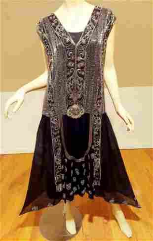Antique French Museum 1910 Silk Flapper/Tabard Dress