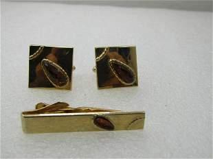 Vintage Swank Cufflinks Tie Bar Set, 1960's, Gold Tone,