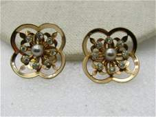 Vintage Coro Signed Rhinestone & Faux Pearl Earrings,