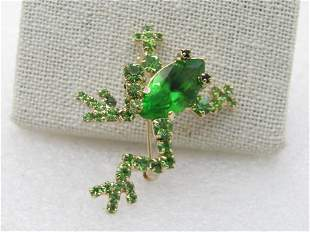 Vintage Green Rhinestone Frog Brooch, 1980's, Gold
