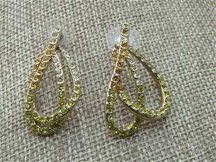 Vintage Clear & Yellow Rhinestone Earrings,
