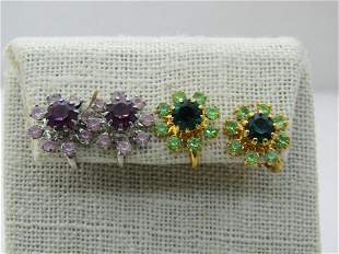 Vintage 2 Pr. Rhinestone Blossom Earrings, Clip Gold