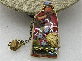 Vintage Little Red Riding Hood Brooch, Beaded Accents,
