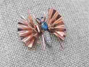 Vintage Charles Reis Butterfly Fur Clip, Rhinestone