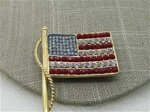 Vintage Kenneth Jay Lane Rhinestone Flag Brooch