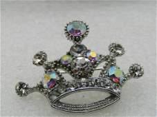 "Vintage Aurora Borealis Crystal Crown Brooch, 1.75"""