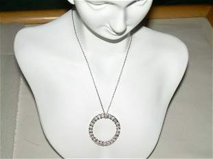 """Sterling Rhinestone Circle Pendant Necklace - 16"""" With"""
