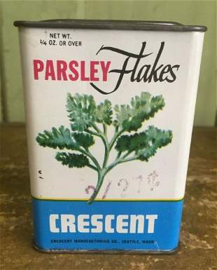Vintage Crescent Parsley Flakes Spice Tin Seattle Great