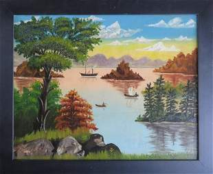 O/C Country Landscape with Boats in River