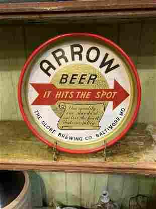 1950'S Arrow Beer Baltimore Maryland Metal Tray