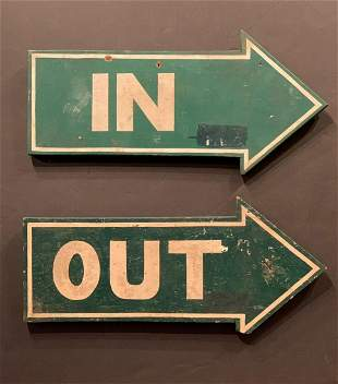 Pair of c. 1920 IN & OUT Signs