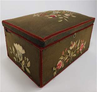 Crewel & Wallpaper Covered Box, New England