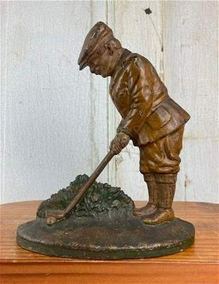 ANTIQUE HUBLEY GOLFER CAST IRON DOORSTOP WOW!