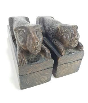 Pair of Arts Crafts Era Oak Carved Lions, Folk Art