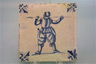 A mid 17th century Dutch delft every day life tile with