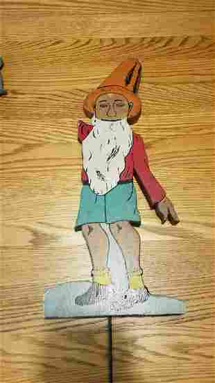 Folk art garden gnome elf crusty paint 1950
