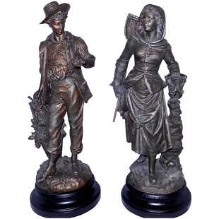Antique Bronze Field Hands Statues