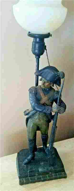 Newel post lamp Art Nouveau French soldier Prussia gas