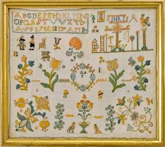 Needlework Sampler dated 1766