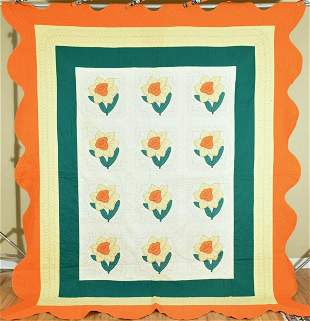 Large 30's Daffodil Applique Quilt
