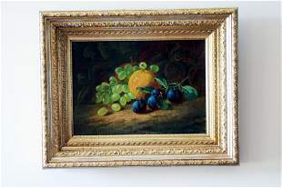 An oil still life on canvas of grapes an orange and