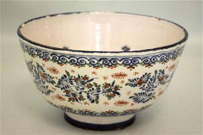 A red,blue and green Bristol delft steep sided punch