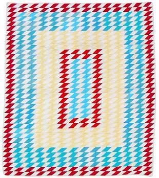 Bright geometric Trip Around the World quilt