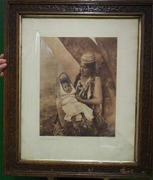 EDWARD CURTIS PHOTOGRAVURE 1903 HUPA MOTHER AND CHILD
