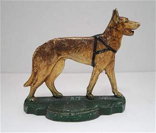 German Shepherd Dog w/ Harness Cast Iron Doorstop
