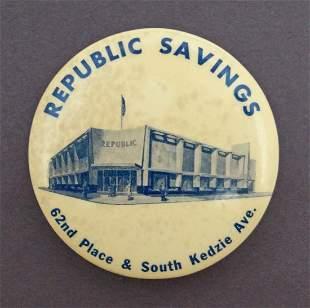 Republic Savings Chicago IL. Celluloid Dime Bank