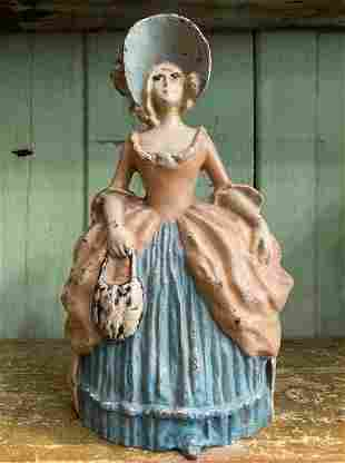 Antique LVL Lady in Bonnett Doorstop Cast Iron