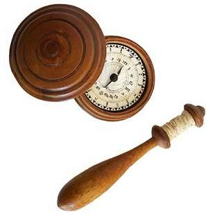 Small Cased 19th C. Compass & Treen Bobbin