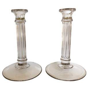 Pair of Fluted Glass Candlesticks