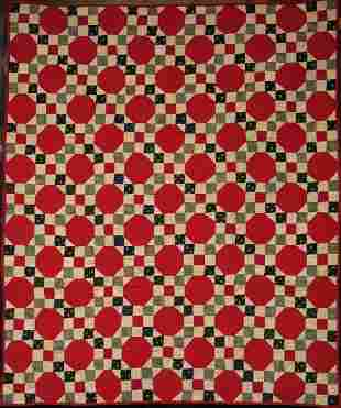 RED OCTAGONS AND NINE PATCH ANTIQUE CRIB QUILT