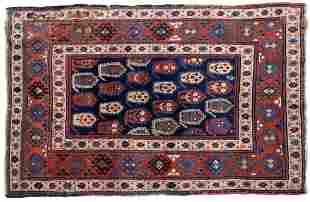 Handmade antique Caucasian Kazak rug 4.1' x 6.3' (