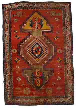 Handmade antique Caucasian Kazak rug 5.7' x 8.8' (175cm
